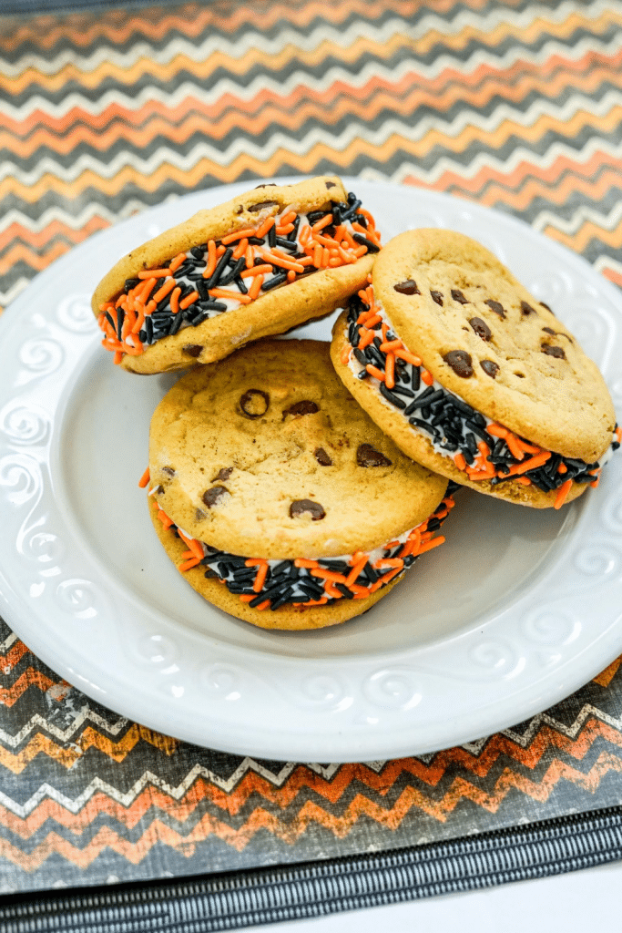 halloween cookies on white plate