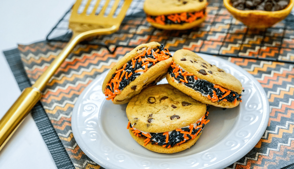 cookie sandwiches on white plate