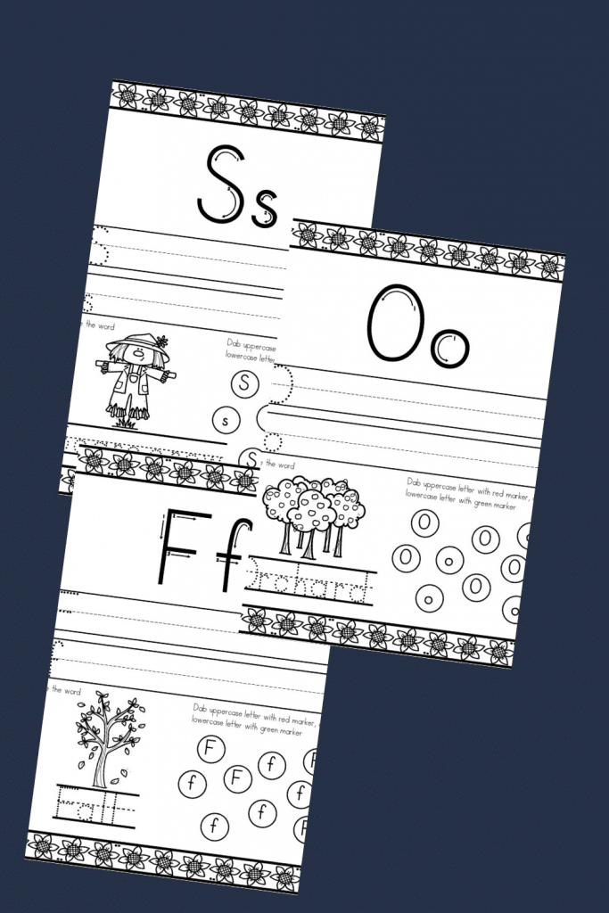 the letters S and O in the  fall themed abc activity sheets