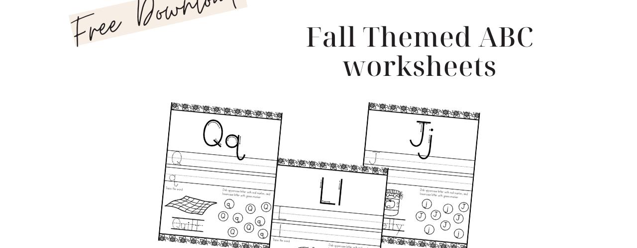 Fall Themed Alphabet Worksheets