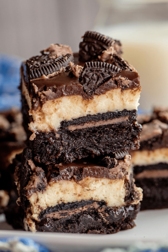 brownie bottom bars stacked