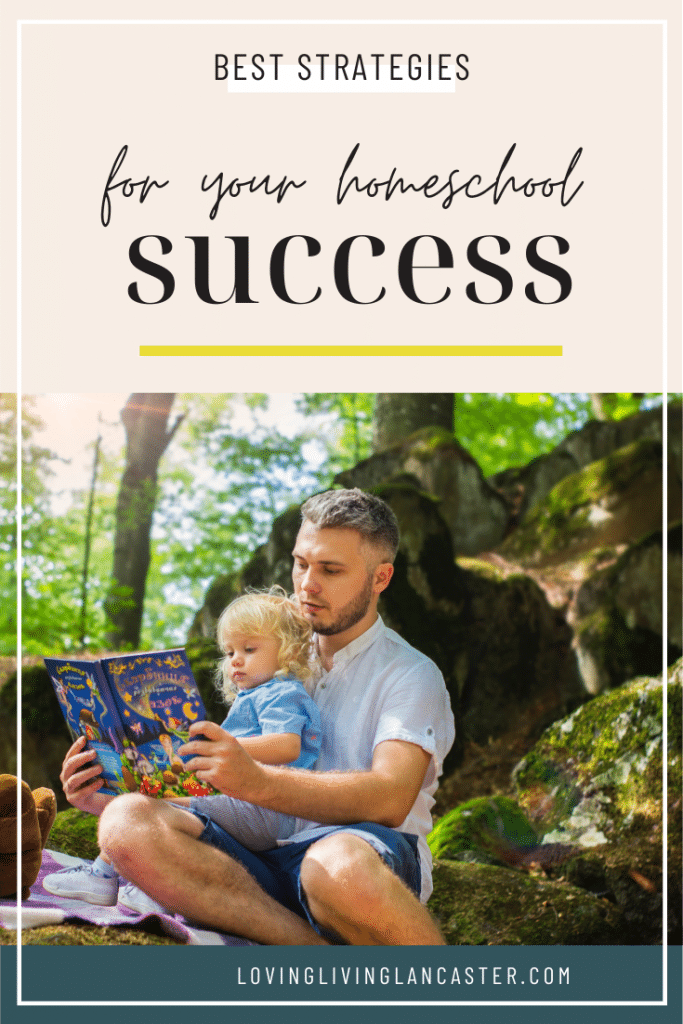 dad reading to child while outdoors