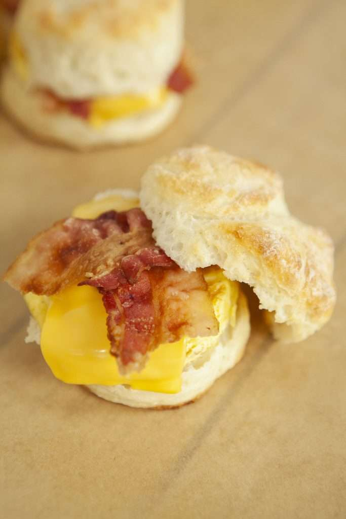Weight Watchers Friendly Bacon Egg and Cheese Biscuits with top of biscuit off