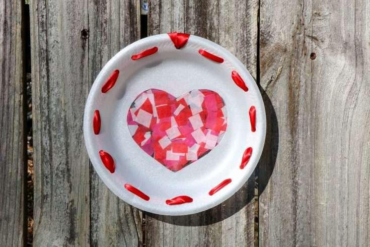 Heart Sun Catcher Craft on Wooden Background