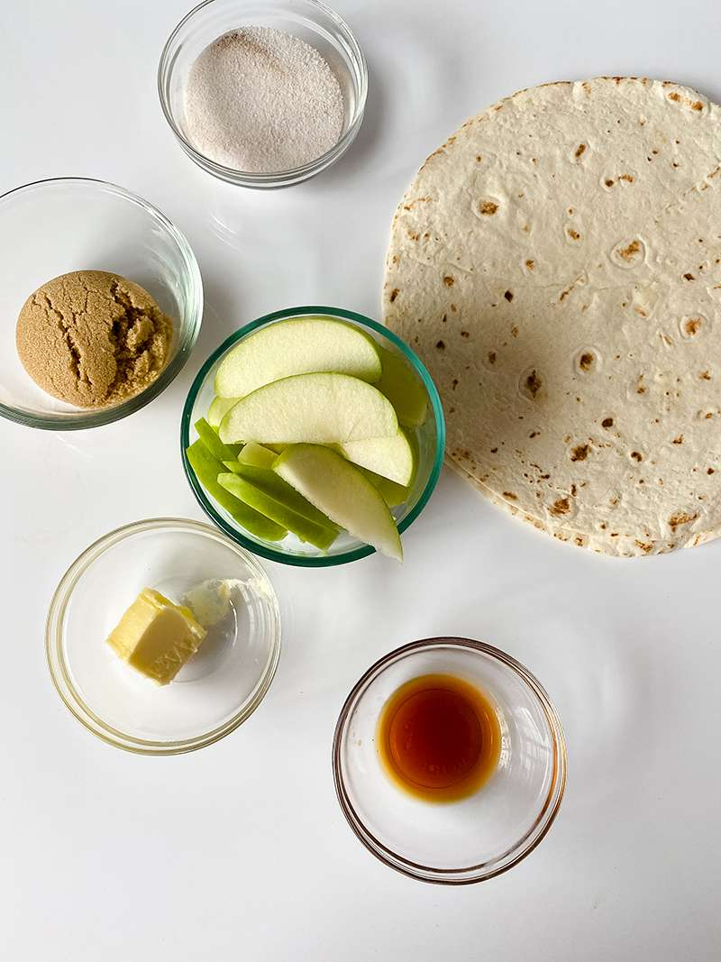 The ingredients ready to make the caramel apple tortilla wrap