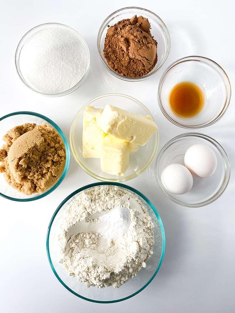 Ingredients for German chocolate cookie recipe