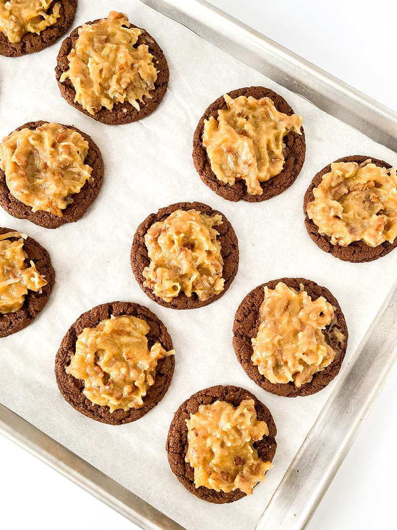 German chocolate cookies with coconut pecan frosting