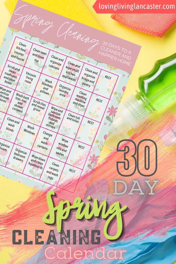 30 Day Spring Cleaning Calendar Printable