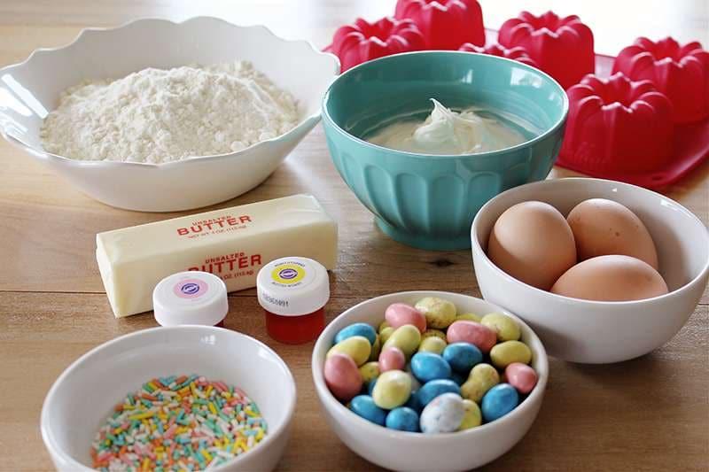Ingredients to make Easter mini bundt cakes