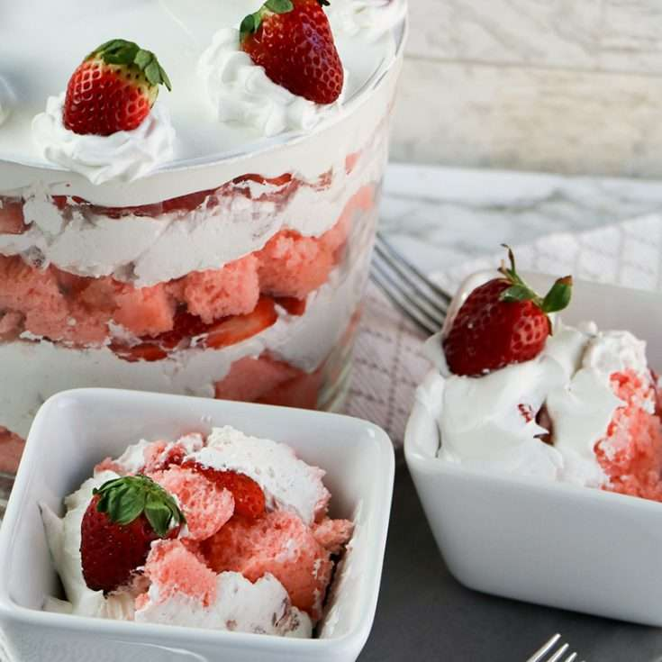 Strawberry trifle served in a bowl
