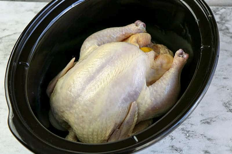 Bare chicken placed in crockpot