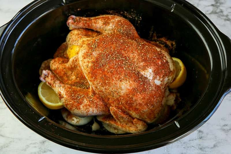 Seasoned chicken in slow cooker