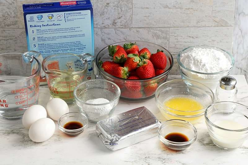 Collective ingredients for strawberry trifle recipe