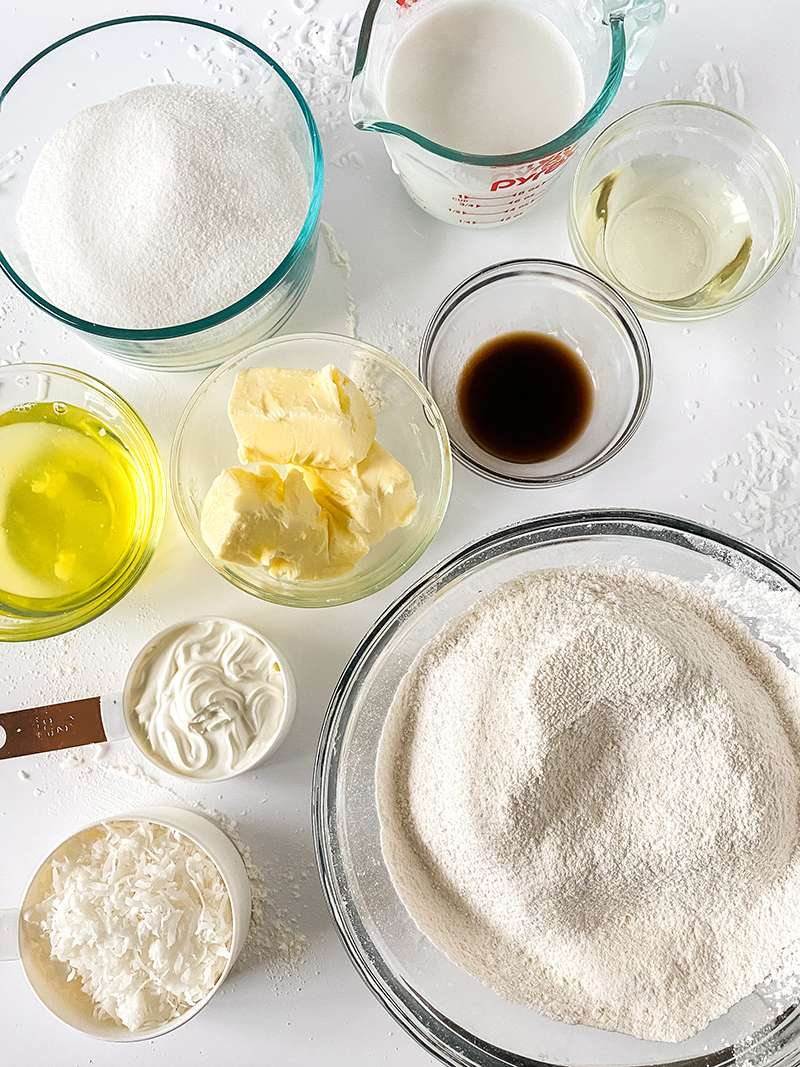 Ingredients for coconut cake recipe