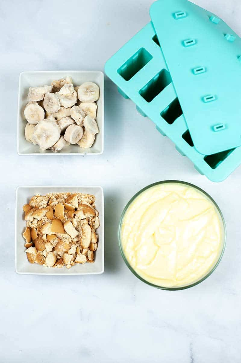 Items needed to make Banana Pudding Popsicles