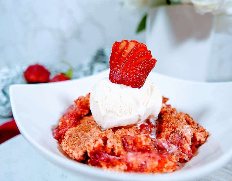 Strawberries and cream cake mix crumble recipe on a plate