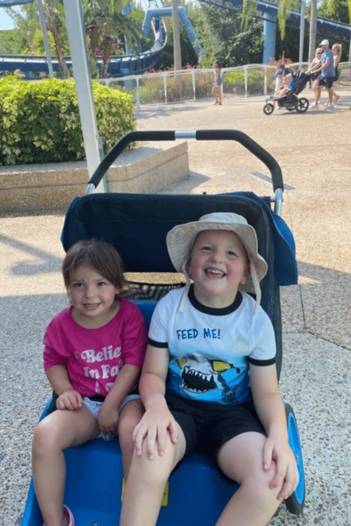 boy and girl in double stroller smiling